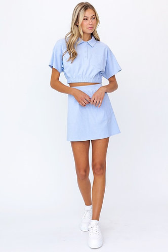 Ivy Crop Polo Top and and Skirt Set