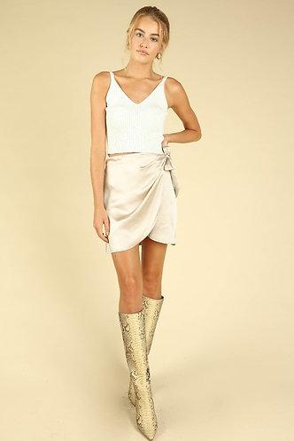 Skyler Satin Wrap Skirt in Champagne