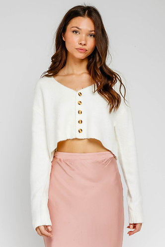 Eve Crop Button Sweater in Cream