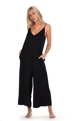 Penelope Satin Crinkle Jumpsuit in Black
