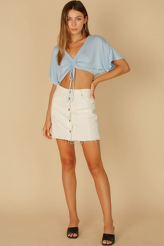 Wendy Ruched Slouchy Top in Sky Blue