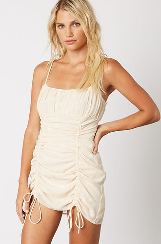 Ruched Slip Dress in Ivory