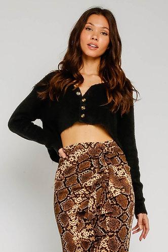 Eve Crop Sweater in Black