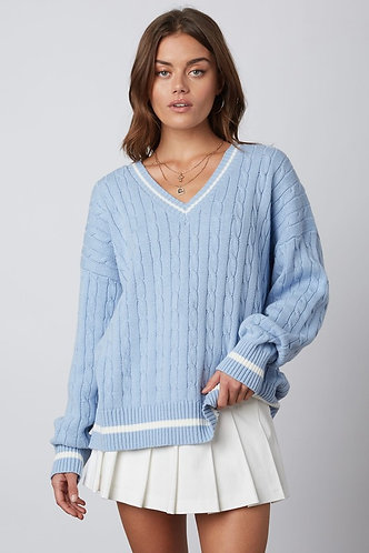 Country Club Cable Knit in Chambray