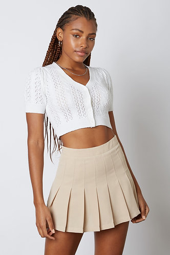 Heathers Solid Pleated Tennis Skirt in Tan
