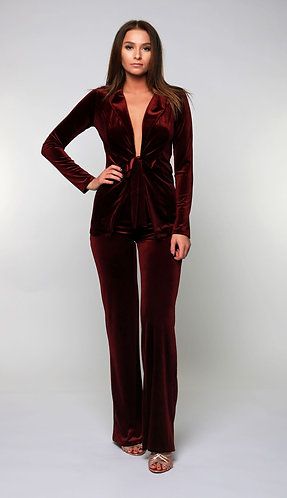 Quinn Velvet Tie Blazer and Pant Set in Plum