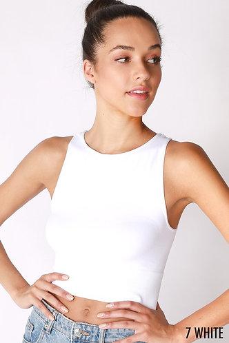 Seamless High-neck Crop in White