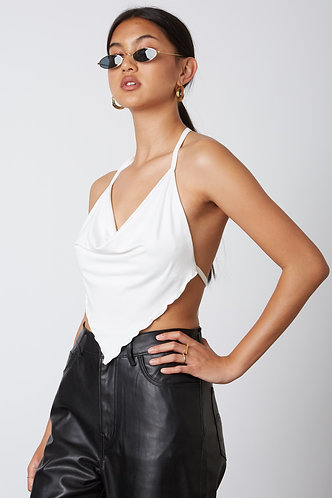 Maggie Cowl Neck Scarf Top in White