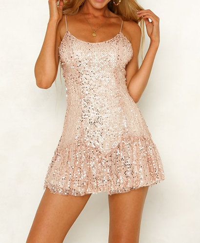 All That Glitters Sequin Dress in Rose Gold