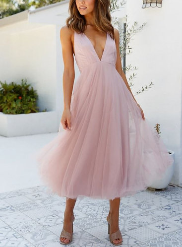 Mi Amor Tulle Party Dress in Blush