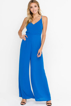 Strappy Back Jumpsuit in Princess Blue