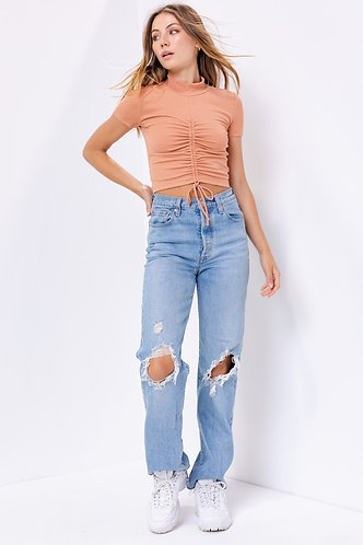 Lisa Mock Neck Ruched Top in Rust