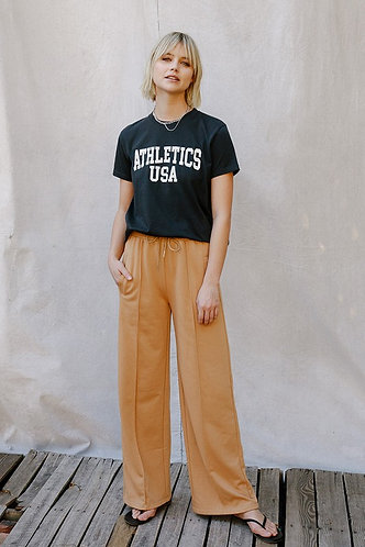 Sydney Wide Leg Lounge Pant in Camel