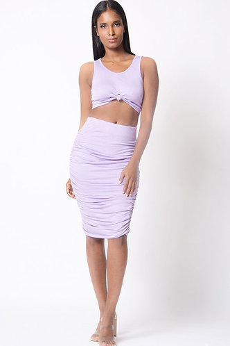 Sleeveless Crop Ruched Skirt Set in Lilac