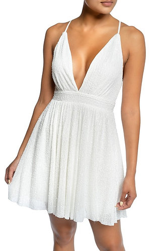 All That Glitters Sequin Dress in White