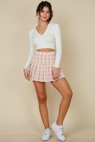 Ace Tennis Skirt in Peach Plaid