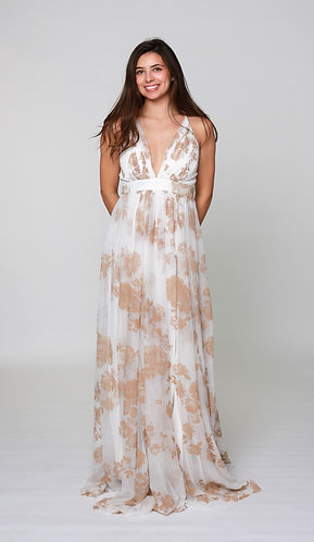 All Over Floral Gown in White