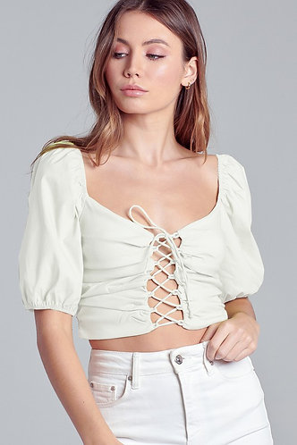 Kelly Puff Sleeve Tie Up Blouse in White