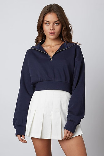 Beck 1/2 Zip Crop Sweatshirt in Navy