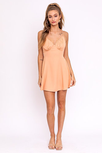 Hannah Mini Slip Dress in Dusty Orange