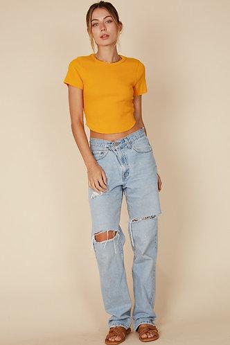 Jennie Knit Crop in Marigold