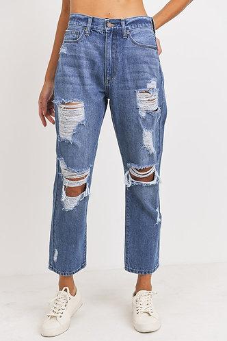 Cali Girlfriend Destroyed Jeans in Medium Wash