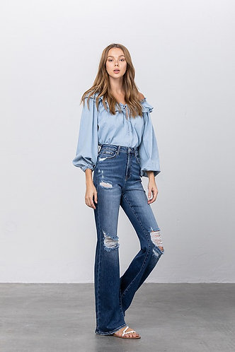 Leenah 90's High Rise Flare Denim