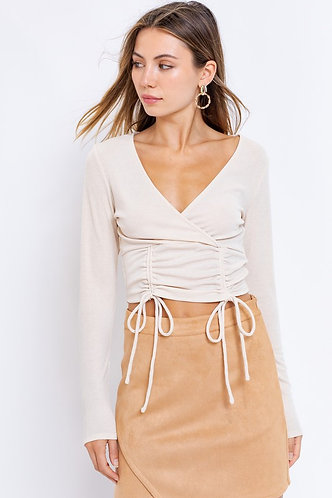 Brandy Surplice Top in Cream