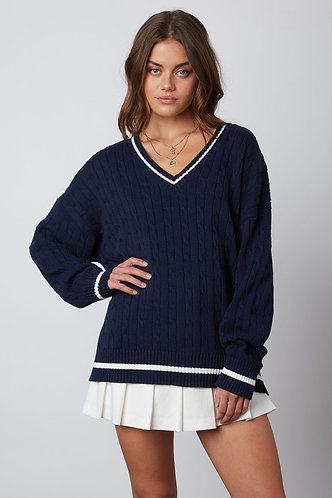 Country Club Cable Knit Sweater in Navy