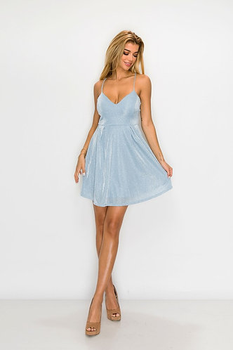 Faye Shimmer Party Dress in Baby Blue