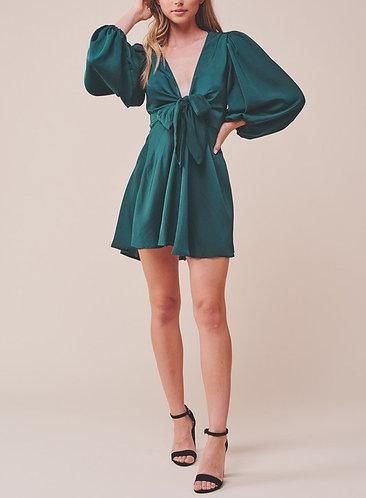 Diana Satin Long Sleeve Dress in Emerald