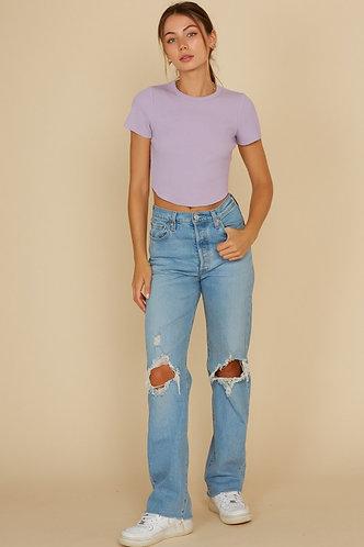 Jennie Rib Knit Sweater in Lilac