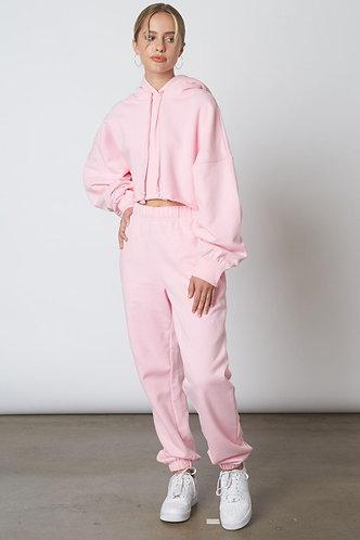 Travellers Cropped Hoodie in Pink