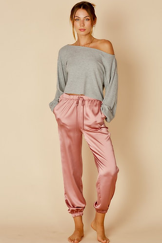 Shelby Satin Lounge Pants in Dusty Mauve