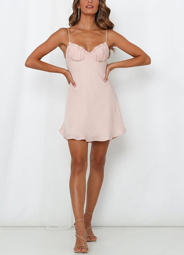 Audrey Silky Mini Dress in Blush