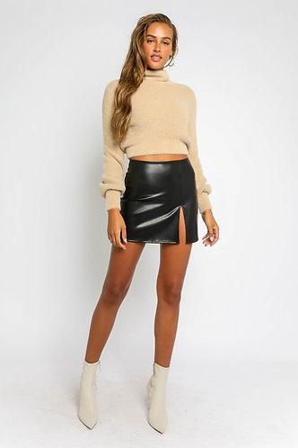 Joelle Mini Skirt in Vegan Leather