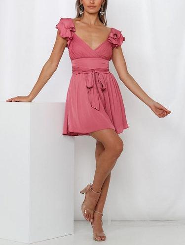 Abigail Flirty Satin Dress in Rose