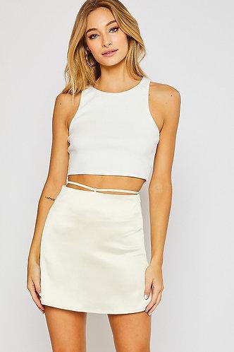 Ellie Satin Mini Skirt in Cream