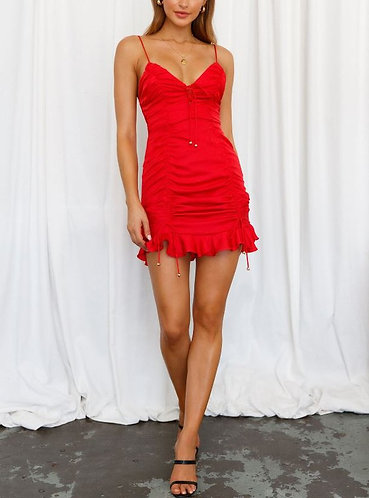 Evalina Ruched Satin Dress in Red