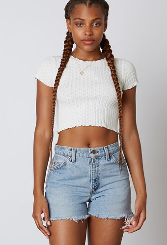 Simone Knit Crop Sweater in Ivory