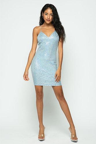 Julana Glitter Dress in Baby Blue