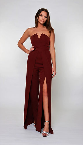 Iconic Flare Strapless Jumpsuit in Maroon