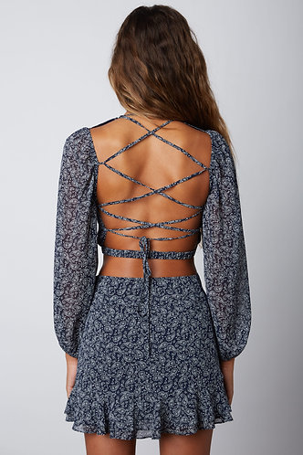 Harmony Floral Open Back Blouse in Navy
