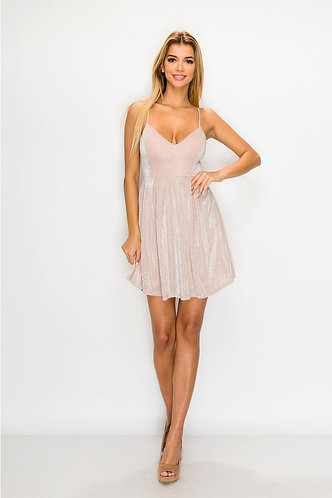 Faye Shimmer Party Dress in Mauve