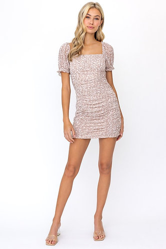 Jasmine Floral Ruched Dress in Taupe