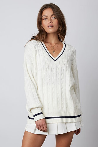 Country Club Cable Knit in White