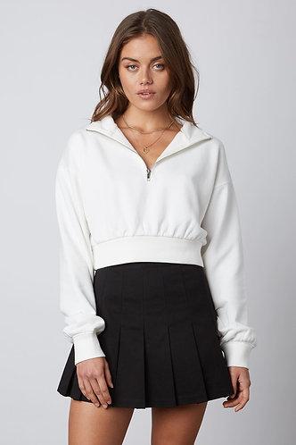 Becky 1/2 Zip Sweatshirt in White