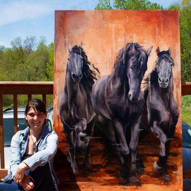 Morgan Cameron Art with painting %22Thro