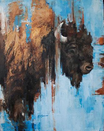 Bison On Blue