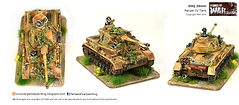WW2 painted 20mm SHQ German  Panzer IV Tank with camo. Painted by Flames of War Painting